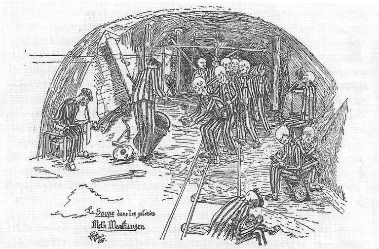 """Soup in the Tunnels"" – drawing by concentration camp survivor Daniel Piquée-Audrain. Source: scan by Perz, ""Projekt Quarz""."